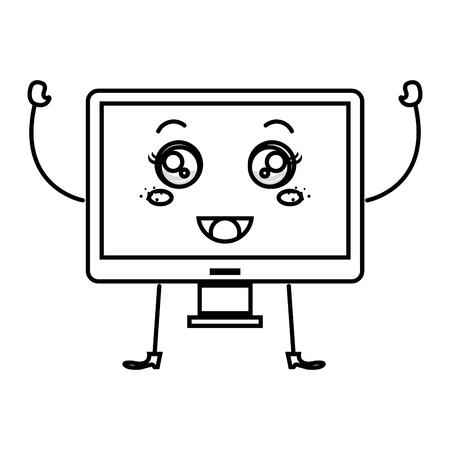 pc tune: monitor computer  character vector illustration design