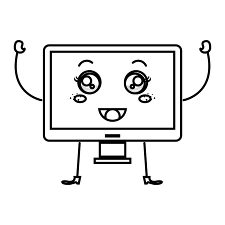 monitor computer  character vector illustration design