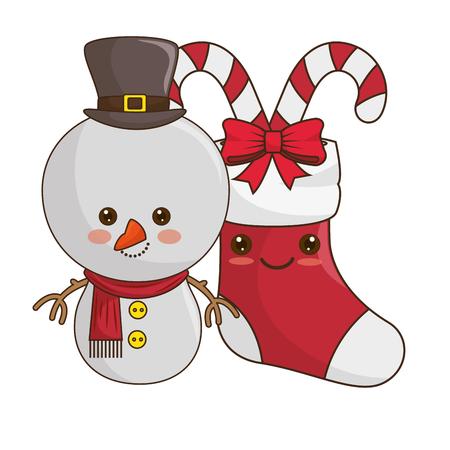 happy merry christmas snowman kawaii style vector illustration design