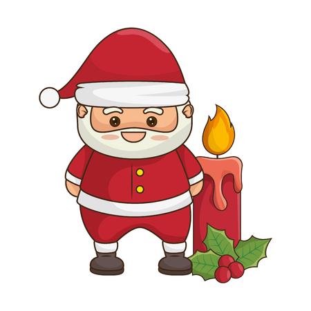 merry christmas santa claus kawaii character vector illustration design Illustration
