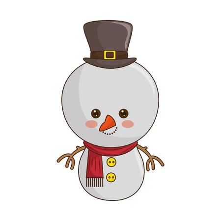hung: happy merry christmas snowman kawaii style vector illustration design