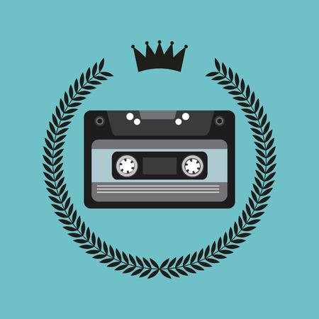 emblème hippie avec casette icône sur fond bleu. design coloré. illustration vectorielle