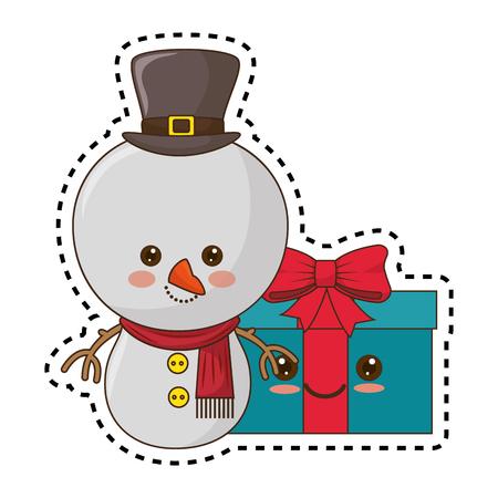 happy merry christmas snowman   style vector illustration design