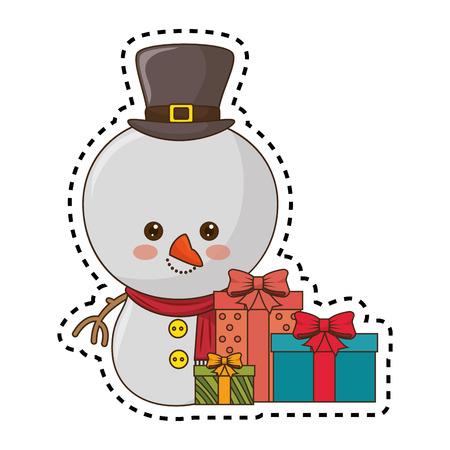 happy merry christmas snowman  vector illustration design