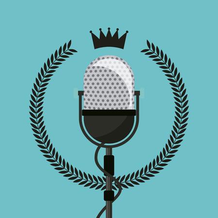 genuine: hipster emblem with retro microphone icon over blue background. colorful design. vector illustration Illustration