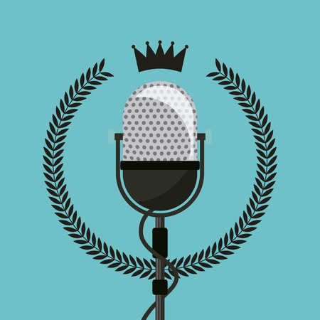 hipster emblem with retro microphone icon over blue background. colorful design. vector illustration Illustration
