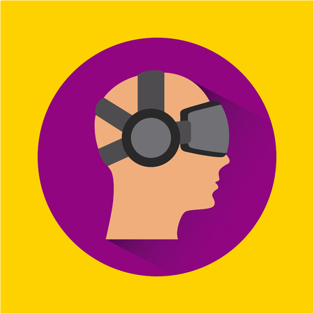 man face cartoon with augmented reality visor icon over purple circle and yellow background. colorful design. vector illustration Illustration