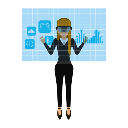 visor: woman cartoon with augmented reality visor over white background. colorful design. vector illustration