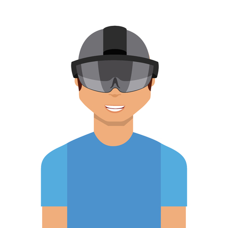 visor: man cartoon with augmented reality visor icon over white background. colorful design. vector illustration Illustration