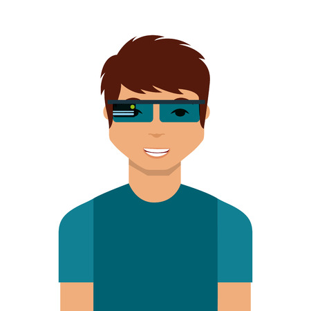 man cartoon with augmented reality visor icon over white background. colorful design. vector illustration Stock Illustratie