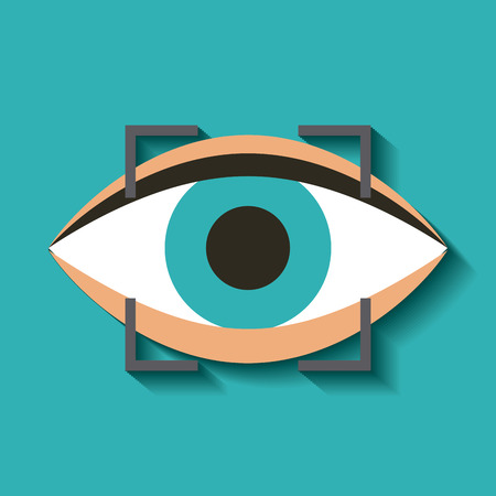 blue eye: eye with focus square of augmented reality accessory over blue background. colorful design. vector illustration