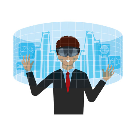 visor: man with augmented reality visor over white background. colorful design. vector illustration Illustration