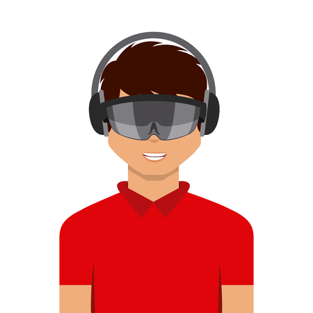 man cartoon with augmented reality visor icon over white background. colorful design. vector illustration Illustration