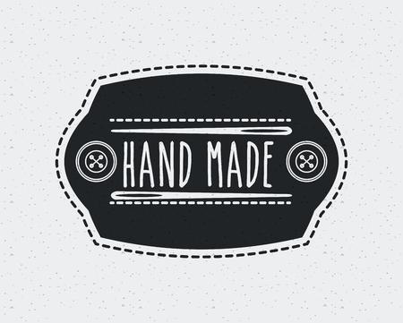 embleem met decoratief frame van handgemaakte concept met knoppen en naald pictogram op witte achtergrond. vectorillustratie Vector Illustratie