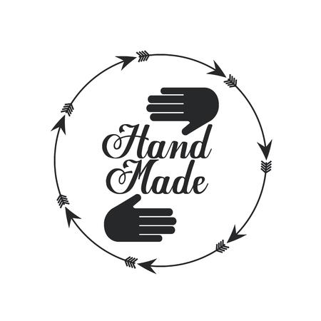 embleem van hand gemaakt concept met hand en pijl pictogram op witte achtergrond. vectorillustratie