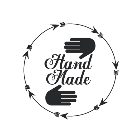 emblem of hand made concept with hand and arrow icon over white background. vector illustration