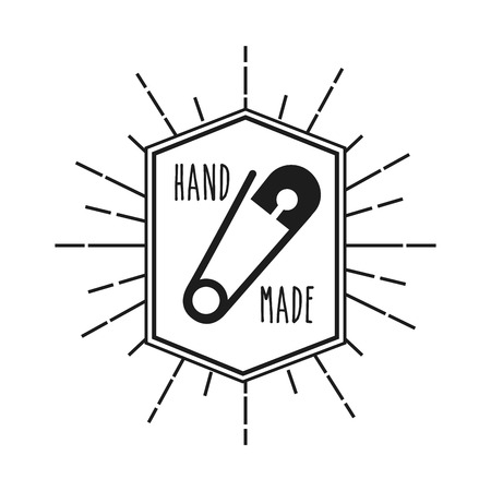 emblem with decorative frame of hand made concept with  safety pin icon over white background. vector illustration Illustration