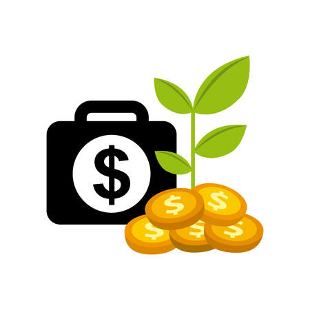 briefcase with money sign and gold coins with a plant over white background. colorful design. vector illustration