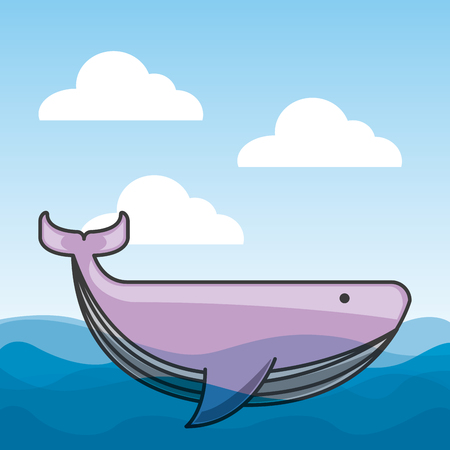 whale in the ocean over sky background. colorful design. vector illustration