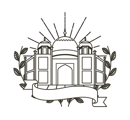 the taj mahal: taj mahal icon with decorative wreath of leaves and ribbon over white background. vector illustration