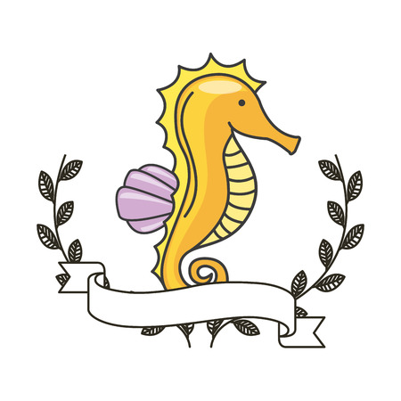 sea horse icon with decorative wreath of leaves and ribbon over white background. colorful design. vector illustration