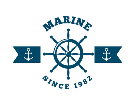 marine emblem with rudder and anchors icon over white background. colorful design. vector illustration Stock Photo