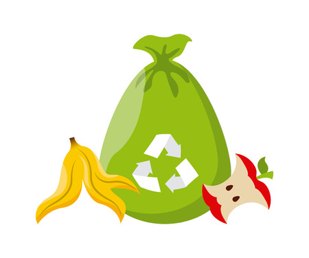 trash bag with recycle sign and banana peel and apple icon over white background. colorful design. vector illustration