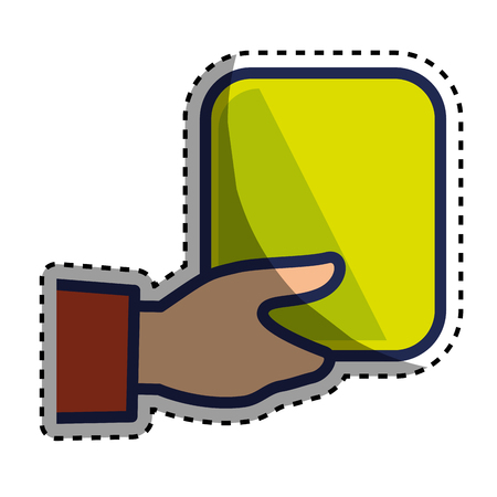 hand human with square vector illustration design Illustration
