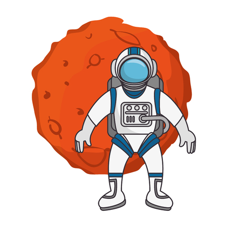 Planet of the solar system with astronaut vector illustration design Illustration