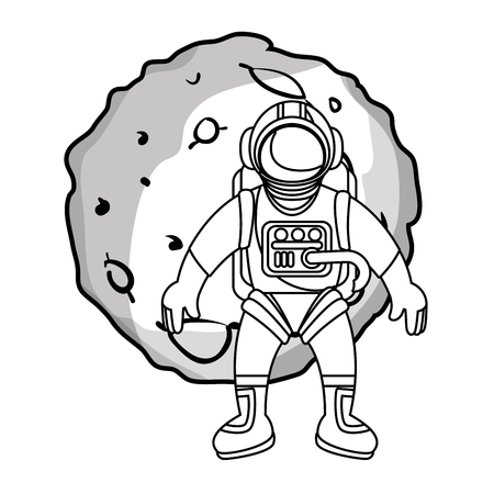 moon of the solar system with astronaut vector illustration design