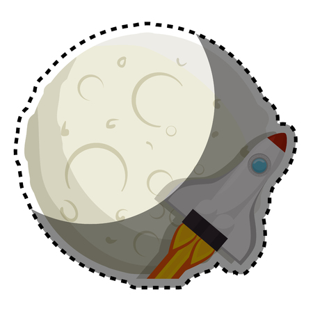 moon of the solar system with rocket vector illustration design