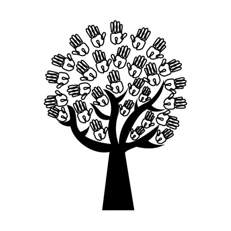 tree hands print paint around vector illustration design