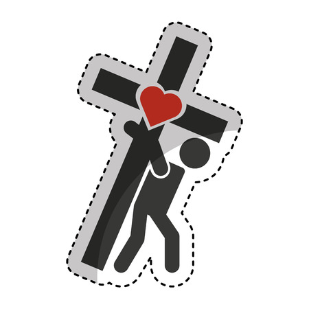 Human silhouette carrying the cross vector illustration design Illustration