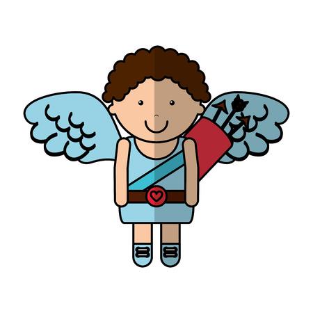 eros: cupid angel character icon vector illustration design