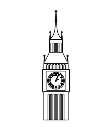 big ben clock isolated icon vector illustration design