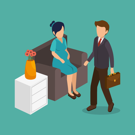 casual business meeting: Group of businesspeople gathered vector illustration design