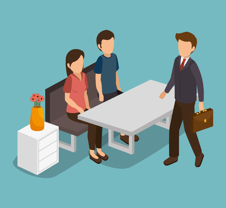 social gathering: Group of businesspeople gathered vector illustration design