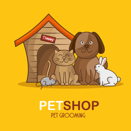 group animals pet shop vector illustration design