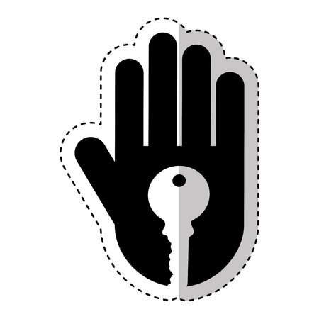 multi finger: hand human with key silhouette icon vector illustration design Illustration
