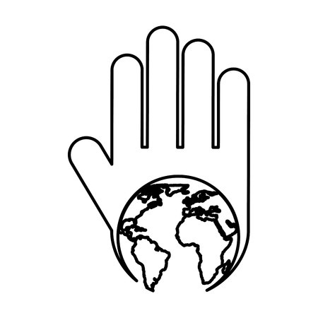 hand human with world planet silhouette icon vector illustration design