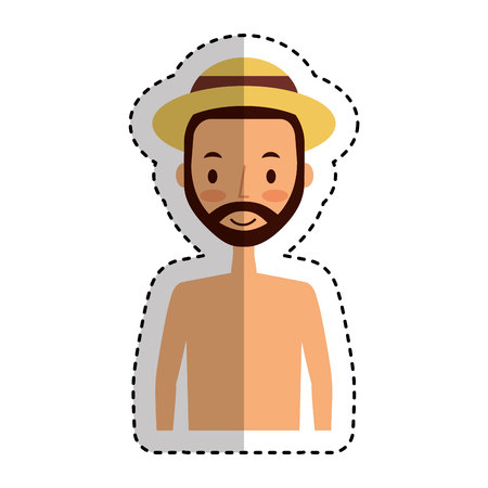 young man character with summer clothes vector illustration design