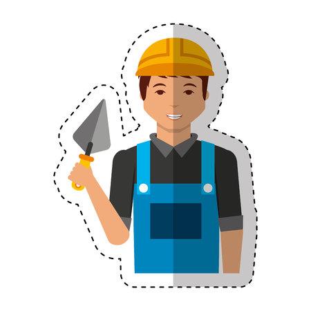 arquitecto caricatura: Construcción avatar carácter profesional de la ilustración vectorial de diseño