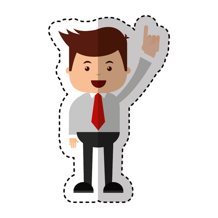 businessman funny with hands up character icon vector illustration design