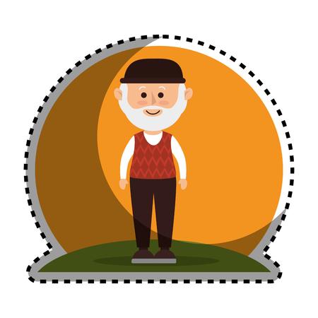 mature adult: cute grandfather avatar character vector illustration design
