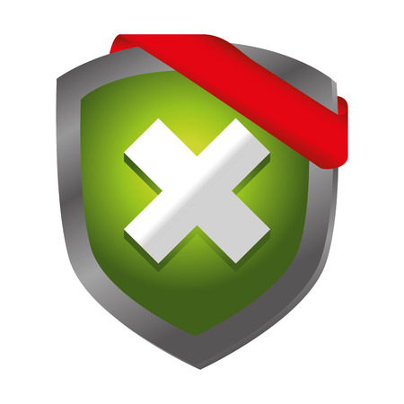shield with x isolated icon vector illustration design
