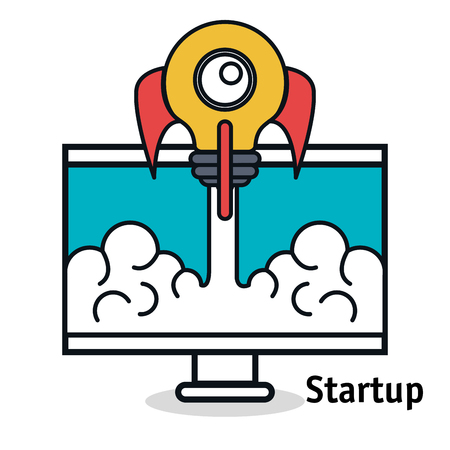 computer display with start up rocket isolated icon vector illustration design