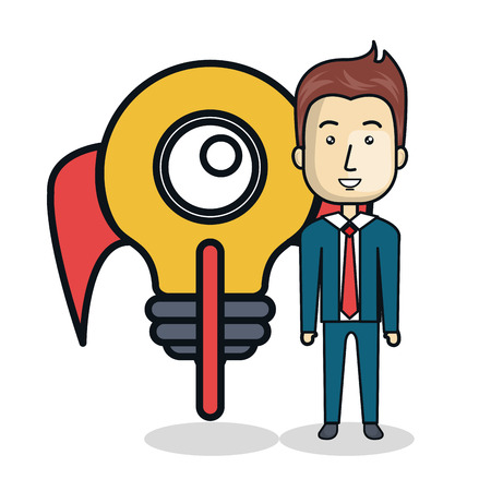 businessman with bulb start up character avatar icon vector illustration design