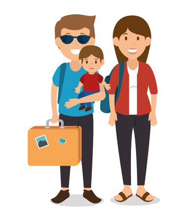 family: family tourists avatars characters vector illustration design