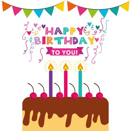 Alles Gute zum Geburtstag Feier-Karte mit Kuchen Vektor-Illustration Design Standard-Bild - 70860200