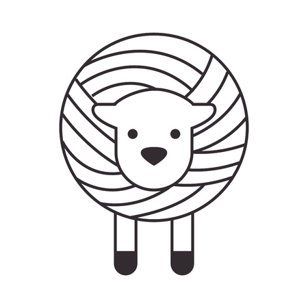 Wool roll with sheep vector illustration design